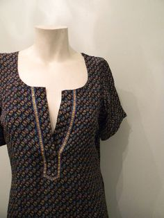 vintage. Indian Navy Blue Floral Print Silk Tunic by styleforlife, $52.25