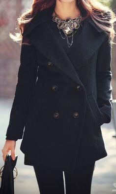 Black Women Coat wool Jacket  women dress Autumn Winter