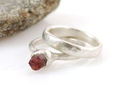 Rough Ruby and Palladium Sterling Silver Engagement Ring and Wedding Band Set - Ready to Ship - eco-friendly recycled metal by BethCyrWeddings on Etsy