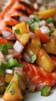 Grilled Peach Salsa Salmon