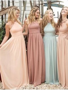2019 Sweep Train Straps A-Line Chiffon with Ruffles Bridesmaid Dresses € - FickscheineDleider.de - 2019 Sweep Train Straps A Line Chiffon With Ruffles Bridesmaid Dresses - Ruffles Bridesmaid Dresses, Prom Dresses, Teenage Bridesmaid Dresses, Long Dresses, Cheap Dresses, Halter Dresses, Bridesmaid Dresses Mismatched Pastel, Formal Dresses, Burgundy Bridesmaid