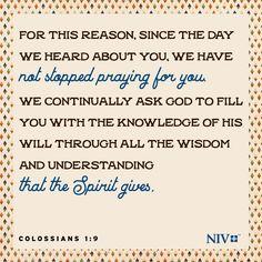 NIV Verse of the Day: Colossians 1:9