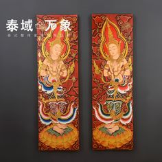 Thailand Thai Buddha painted gold leaf paintings Southeast nostalgia frameless painting decorative painting wall hangings foil-in Wood Crafts from Home, Kitchen &…