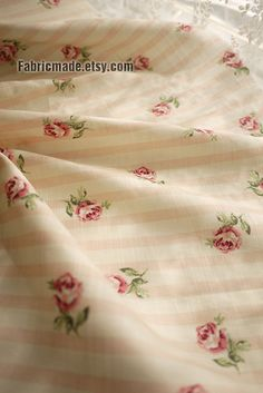 Cotton Fabric Orange Pink Stripe With Pink Rose by fabricmade