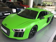 #Car #wrap for Stockport Audi. #Audi R8 v10 in #3M Satin Apple Green, with the trim wrapped in 3M Black #Carbon, wheel & badges painted in #Satin Black.