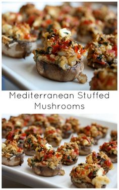 Mediterranean Diet Mediterranean Stuffed Mushrooms - a light and delicious appetizer perfect for entertaining - These Mediterranean Stuffed Mushrooms are a wonderful light and delicious (vegetarian) appetizer, perfect for entertaining. Vegetarian Appetizers, Finger Food Appetizers, Yummy Appetizers, Appetizer Recipes, Holiday Appetizers, Burger Recipes, Raclette Recipes, Wine Appetizers, Greek Appetizers