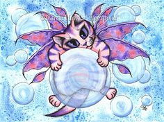 Bubble Fairy Kitten,  Tigerpixie Art Studio, http://Tigerpixie.com Prints & Gift Items featuring this image are available on my website. © Carrie Hawks, Cat Paintings, Fantasy Cat Art