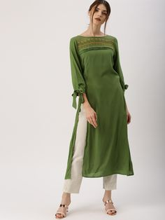 Buy All About You Women's Green Solid Straight Kurta online in India at best price.Green solid straight kurta , has a round neck with embroidered detailing, three-quarter sleeves with Kurti Sleeves Design, Kurti Neck Designs, Kurta Designs Women, Kurti Designs Party Wear, Blouse Designs, Pakistani Dresses, Indian Dresses, Indian Outfits, Stylish Dresses