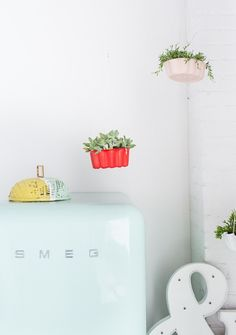 I made these DIY hanging bundt cake pan planters perfect for kitchen inspired decor for the new studio to make for a modern lunch and snack area..