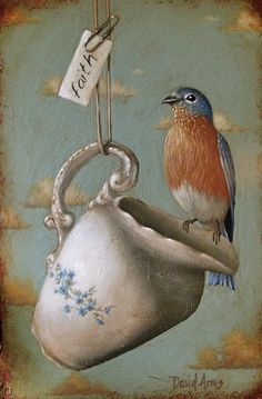 Artwork by David Arms for this Monday morning.Beautifully aged with an assortment of stunning birds, vintage wallpaper and textiles and,. Funny Bird, Arm Art, Bird Feathers, Beautiful Birds, Blue Bird, Pet Birds, Illustration Art, Arms, Drawings