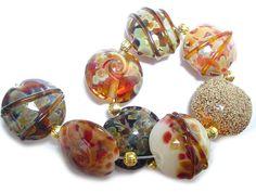 Handmade Glass Lampwork Beads  Lentils Handmade Glass