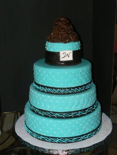 turquoise and brown wedding cake! I love it!