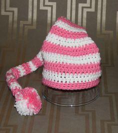 Crochet Pink & White Elf Hat - Newborn Baby Photography Prop