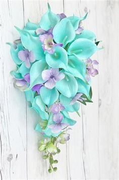 Purple Wedding Flowers Natural Touch White and Turquoise Callas with Lilac Filler Cascade Bouquet - Wedding Flower Guide, Cheap Wedding Flowers, Lilac Wedding, Flower Bouquet Wedding, Diy Wedding, Wedding Colors, Wedding Ideas, Bridal Bouquets, Beach Wedding Bouquets