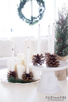 DIY Pine cone Candle Holders – elegant, understated, winter candle holders, perfect for bringing the outdoors in during the winter. Hello Everyone! This is Norma from Paint Me Pink and I am so excited