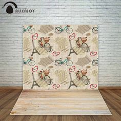Allenjoy Paris vintage backdrop Newspaper background Eiffel Tower flowers bicycles wooden floor wedding background vinyl