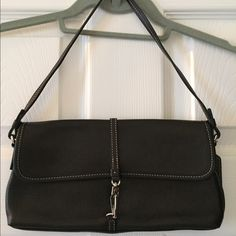 Coach handbag Authentic Black Coach shoulder bag. Lobster clasp closure. Like new, barely used. 👛 Coach Bags Shoulder Bags