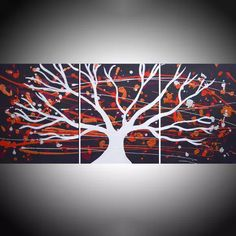 "View: triptych 3 panel wall art colorful images "" White Tree of Peace "" 3 panel canvas wall abstract canvas pop abstraction 48 x 20 "" tree of life 4 sizes"