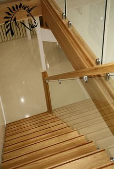 Oak Staircase With Dark Hardwood Strip For Cotrasting Stair Nosings