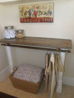 Fashioned This Laundry Table/hanging Rod Out Of A Reclaimed Piece Of Barn  Wood And
