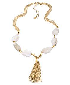 Rachel Reinhardt Moonstone Tassel Necklace