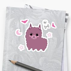 Cute goth llama sticker - emo llama, metal llama Kawaii dark llama sticker, with gothic elements: stars, moon, bats, skulls and bones. / Black and pink. For cute horror lovers and witches. | funny stickers, weird, alpaca, llama, purple Gothic Elements, Cute Goth, Funny Stickers, Skull And Bones, Pastel Goth, Bats, Witches, Skulls, Emo