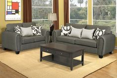 Poundex 2 PC Clean Style Grey Chenille Upholstery Loveseat Sofa Set  -Contemporary Living