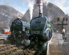 """Masterful painting by Philip D Hawkins of 2 East Coast Greyhounds 60131 Osprey and 60015 Quicksilver."