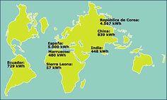 #Consumo de electricidad en el mundo Map, The World, Maps, Peta