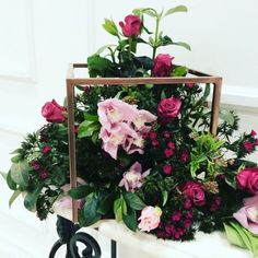 Smaller arrangements inside the base of the frame with top of frames left exposed. Modern Wedding Centerpieces, Wedding Table Centerpieces, Flower Centerpieces, Centrepieces, Frame Stand, Flower Stands, Here Comes The Bride, Event Decor, Floral Arrangements