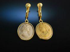 Antique cameo earrings! Lava des Vesuv! Edle Lava Kameen Ohr Clipse / Ohrringe, Neapel um 1840 Silber 925 vergoldet. Wundervoller historischer Kamee Schmuck bei Die Halsbandaffaire München