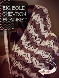 The Big Bold Chevron Blanket was designed by Tamara Kelly. You will need Medium Weight Yarn [4] and a 6.5 mm (K) hook. Multiple sizes of this pattern are available.