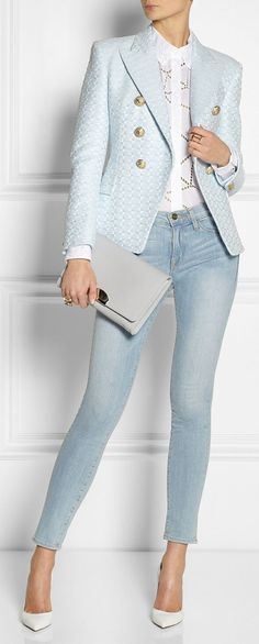 Chic powder blue blazer, white loophole pattern blouse, faded jeans, pumps and clutch