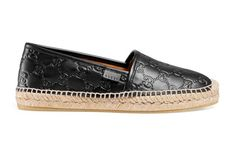 Shop the Gucci Signature leather espadrille by Gucci. A platform espadrille, made in heat debossed Gucci Signature leather resulting in a defined print with a firm texture. Designer Espadrilles, Womens Espadrilles Wedges, Women's Espadrilles, Athletic Outfits, Leather Wedges, Designing Women, Nordstrom, Gucci, Platform