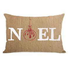 One Bella Casa Noel Ornament Paper Lumbar Pillow