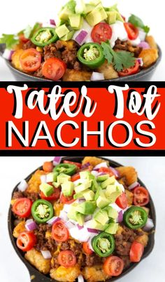 These loaded tater tot nachos recipe is the perfect game day appetizer. We have what is soon to be your favorite totchos recipe loaded with all the fixings. Tater Tot Nachos, Loaded Tater Tots, Tater Tot Recipes, Mexican Food Recipes, Ethnic Recipes, Mexican Dishes, Creole Recipes, Grilled Veggies