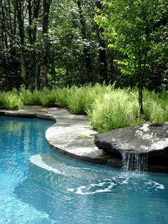 Rock Crystal with ferns fountain mass planting pool copin
