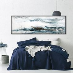 Ready to Hang extra large abstract large painting Seascape painting Gray abstract art Horizontal painting Horizon line Seascape art canvas Free Canvas, Canvas Art, Canvas Prints, Canvas Paper, Wall Canvas, Blue Painting, Large Painting, Painting Abstract, Grey Abstract Art
