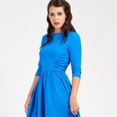 f20f31fc27995 Zoe Vine blue ruched dress for AW16 Mac Russian Red, Vintage Style Dresses,  Vintage