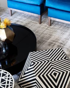 PAUSE: This detail shot of the living room of our Embassy Towers project showcases some key contrasts used in our design scheme: glossy vs matte, smooth vs texture, pattern vs plain, B&W vs colour 💙🖤 🤍. Just some of the building blocks that make for sleek, luxurious, urban living.  Copperleaf Studio, together with our network of our city's best and most-talented suppliers, provides a full turn-key interior design service for seamlessly elegant and bespoke spaces. To have your space… Wet Room Bathroom, Wet Rooms, Interior Design Services, Your Space, Living Room, Studio, Luxury, Projects, Towers
