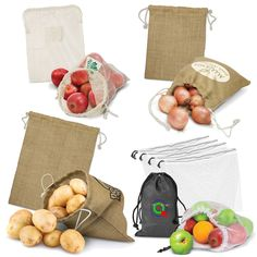 Browse Reusable Produce Bags Produce Bags, Burlap, Reusable Tote Bags, Gift Wrapping, Logo, Gifts, Gift Wrapping Paper, Logos, Jute