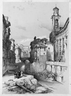 David Roberts (1796-1864) - Old Buildings on the River Darro, Granada, 1837