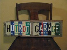 "Garage Art - Custom ""hotrod Garage"" License Plates Sign - Fathers Day- Made With…"