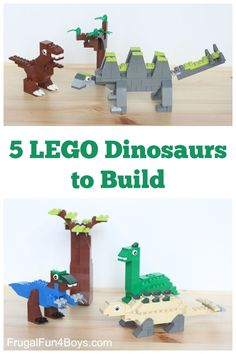 Five LEGO Dinosaurs to Build! Awesome LEGO building ideas for kids. Great for a rainy day or a LEGO club. Lego Duplo, Lego Club, Legos, Lego Building, Building Ideas, Activities For Kids, Crafts For Kids, Dinosaur Activities, Lego Challenge