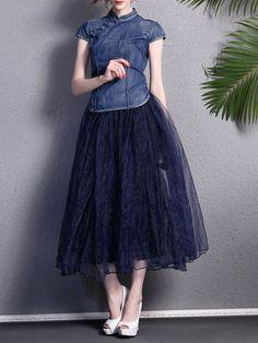 Printed Mandarin Top with Organza Maxi Skirt