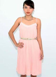 Light Pink Accordion Pleat Dress with Elastic Waist,  Dress, pleated dress  sleeveless, Chic