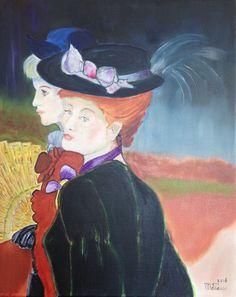 Twee dames aan de wandel door Riet de Paauw.