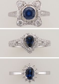 We are in love with these genuine sapphire rings! Which one do you like best?? Vintage (Top), Modern Vintage (Middle), Classic (Bottom)