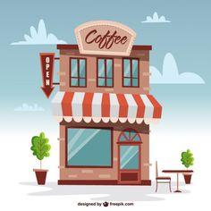 Bonito edificio de cafetería Vector Gratis