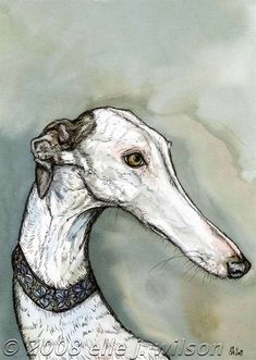 Almost an Angel 66. Greyhound Art Portrait by Elle J. Wilson